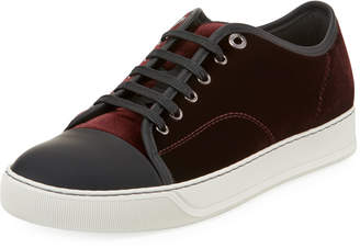 Lanvin Men's Velvet Cap-Toe Low-Top Sneakers