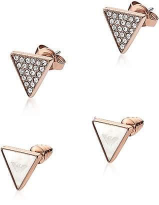 Emporio Armani Signature Rose Goldtone Triangle Earrings