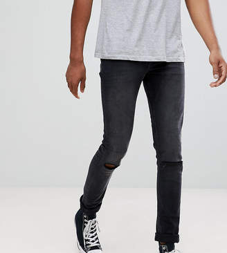 Asos Design TALL Super Skinny Jeans In 12.5oz Washed Black With Knee Rips