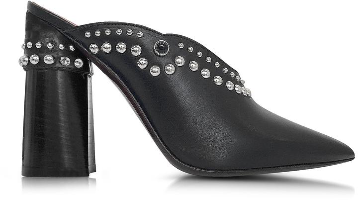 3.1 Phillip Lim3.1 Phillip Lim Patsy Black Leather High Heel Mules w/Studs