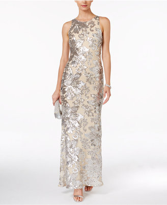 Betsy & Adam Illusion-Back Sequin Gown $279 thestylecure.com