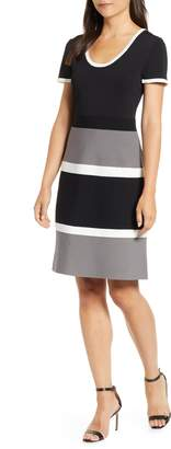 Anne Klein Colorblock A-Line Knit Dress