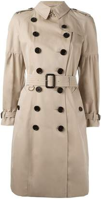Burberry Cotton Gabardine Trench Coat with Puff Sleeves