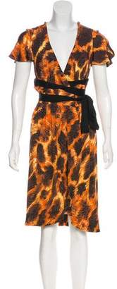 Just Cavalli Printed Wrap Midi Dress