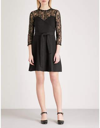 The Kooples Snakeskin-pattern lace and jacquard dress