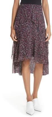 Joie Brigida Tiered Print Silk Skirt