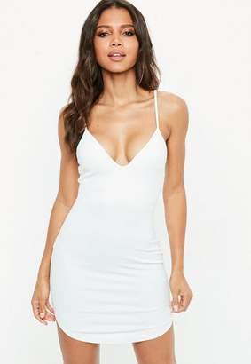 Missguided White Strappy Plunge Bodycon Dress