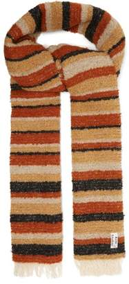 Acne Studios Striped BouclA Scarf - Womens - Brown