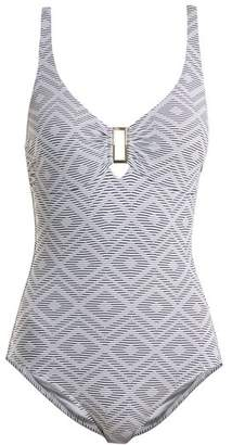 Melissa Odabash - Tuscany Diamond Jacquard Swimsuit - Womens - Navy White