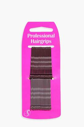 boohoo Evelyn Brunette Kirby Hair Grips 40 Pack