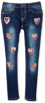 Vigoss Girls 4-6x) Sequin Heart Skinny Jeans