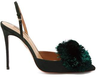 Aquazzura Powder Puff 105 Velvet Pumps - Womens - Dark Green