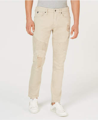 GUESS Men's Slim-Fit Tapered Moto Jeans