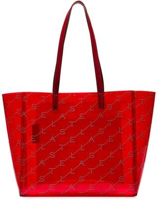 Stella McCartney red logo embellished transparent PVC tote bag