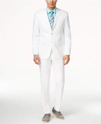 Perry Ellis Portfolio White Solid Linen-Blend Slim-Fit Suit $375 thestylecure.com