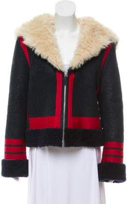 Cédric Charlier Fur-Trimmed Shearling Coat