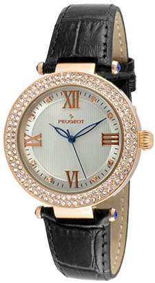 Peugeot Women's 'Luxury 14k Rose Gold Plated Leather Dress' Quartz Leather Dress Watch (Model: 3046BK)