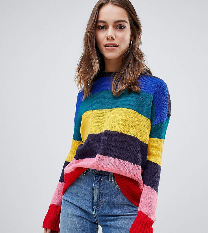Petite jumper in bright rainbow stripe