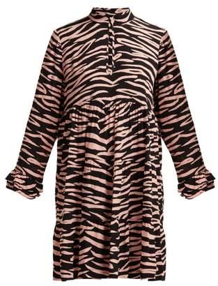 Ganni Lindale Zebra Print Tiered Satin Dress - Womens - Black Multi