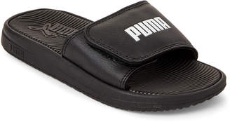 Puma Kids Boys) Black & White Logo Slide Sandals