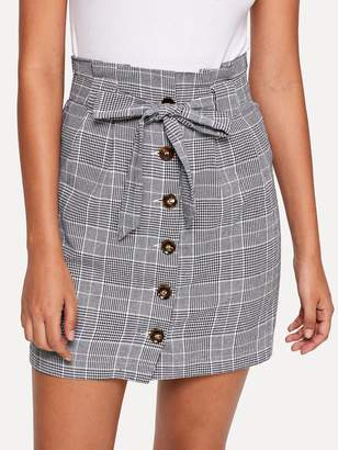 Shein Button Up Knot Front Plaid Skirt