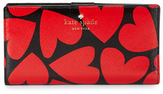 Kate Spade Kate Spade New York Stacey Heart Print Cross-Hatched Leatherette Wallet