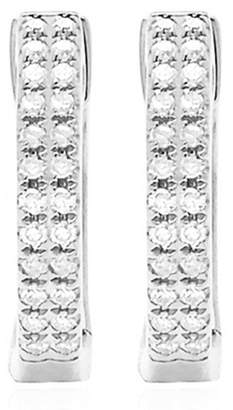 Ef Collection 14K White Gold Double Diamond Huggie Earrings - 0.12 ctw