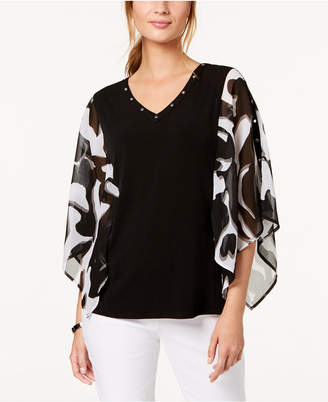 JM Collection Studded Chiffon-Sleeve Top, Created for Macy's