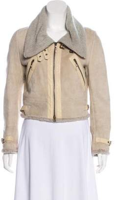 Brunello Cucinelli Leather-Trimmed Shearling Jacket