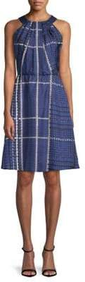 Oscar de la Renta Printed A-Line Silk Dress