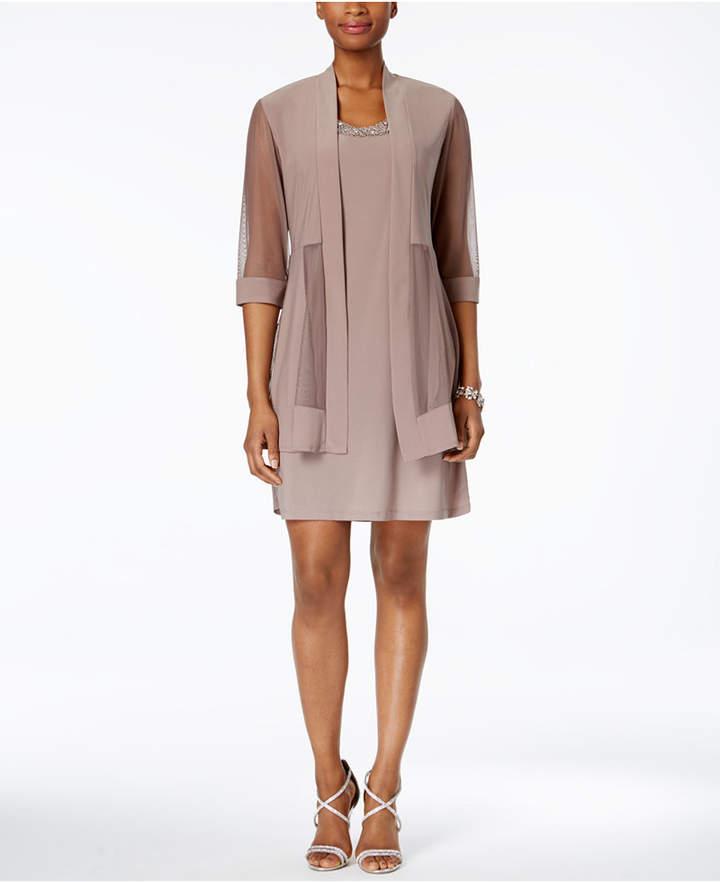 R & M Richards Embellished Dress and Illusion Duster Jacket 5