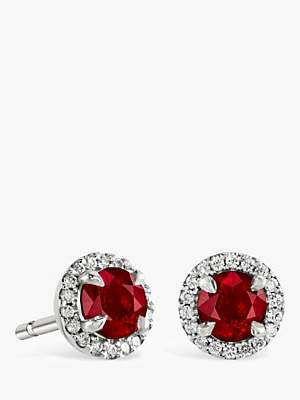 2d3f02ed4 Brown & Newirth 9ct White Gold Ruby and Diamond Round Stud Earrings, ...