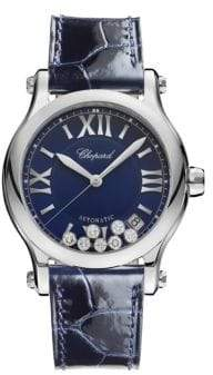 Chopard Happy Sport Diamond, Stainless Steel& Leather Strap Watch