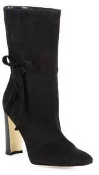 Manolo Blahnik Suede Bow Block Heel Boots $1,145 thestylecure.com