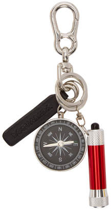 DSQUARED2 Silver and Red Glamping Key Chain