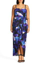 City Chic Hydrangea Print Maxi Dress