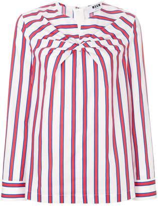 MSGM twist-detail striped blouse