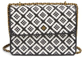 Tory Burch Robinson Woven Leather Convertible Shoulder Bag - Black $475 thestylecure.com
