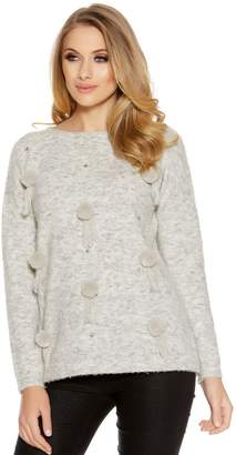 Quiz Light Grey Knitted Pom Pom Jumper