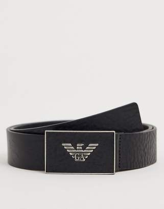 Emporio Armani plaque buckle leather belt in black