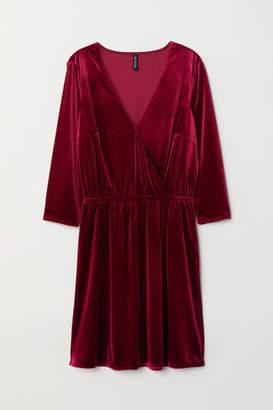 H&M Velvet Wrap Dress - Red