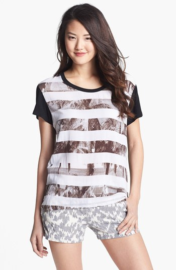 Caslon Mixed Media Graphic Tee White/ Black Combo Large