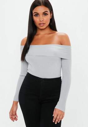 Missguided Gray Bardot Turn Back Knit Bodysuit
