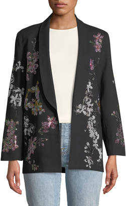 Libertine Floral Crystal-Embellished Tie-Waist Wool Blazer