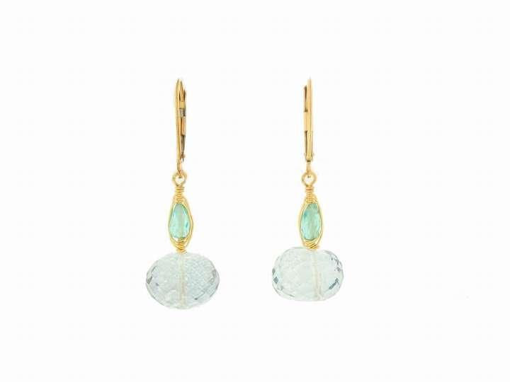Dana Kellin Apatite and Blue Quartz Drop Earrings in Gold