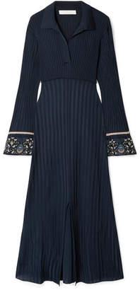Chloé Printed Georgette-trimmed Ribbed Stretch-knit Midi Dress - Navy