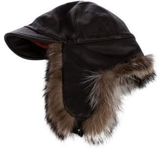 Loro Piana Fur-Trimmed Leather Hat
