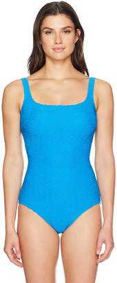 Gottex Women's Essence Square Neck Full Coverage One Piece Swimsuit