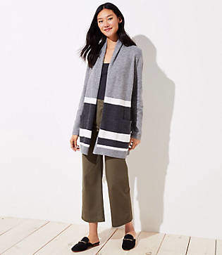 LOFT Striped Shawl Pocket Open Cardigan