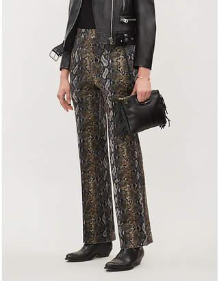 The Kooples Snakeskin-print high-rise velour trousers